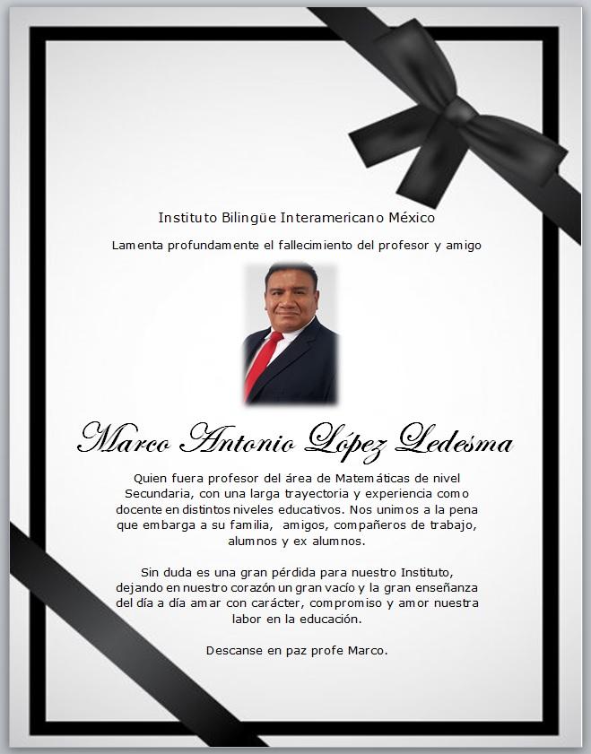 Descanse en Paz Profe. Marco